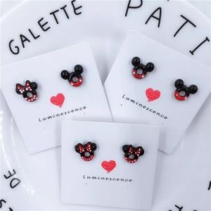 Mickey and Minnie Mouse Enamel Stud Earrings